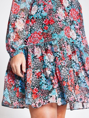 Ri Plus Floral Ruffle Swing Dress - Blue