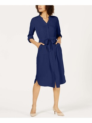 Alfani Womens Blue Tie Solid Keyhole Below The Knee Shirt Dress Dress UK Size:8