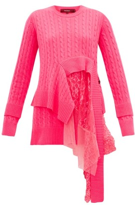 Sies Marjan Trine Layered Wool-blend Sweater - Fuchsia