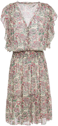 Vanessa Bruno Gathered Floral-print Georgette Mini Dress