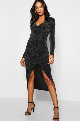 boohoo Tall Shimmer Wrap Bodycon Midi Dress