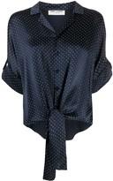 Saint Laurent tie front studded silk shirt