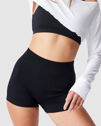 Cotton On Body Active - Women's Black Tights - Lifestyle Seamless Rib Hottie Hot Shorts - Size XS/S at The Iconic