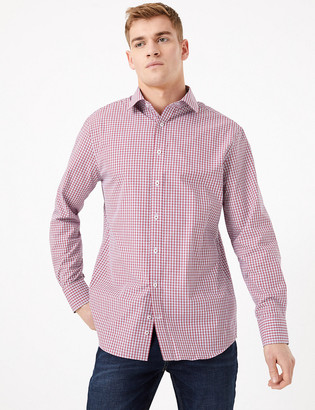 Marks and Spencer Regular Fit Checked Easy Iron Shirt