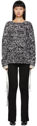 Joseph Black and White Hand-Knit Wool Sweater