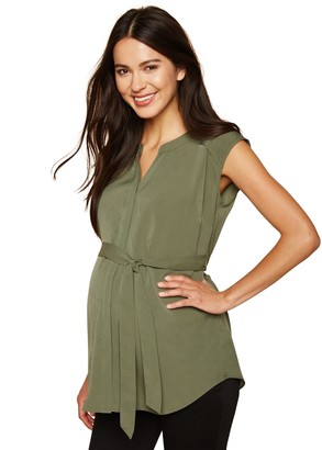 Motherhood Maternity Women's Maternity Drop Shoulder Button Down Tunic Shirt with Self Tie