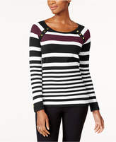 Karen Scott Petite Striped Button-Shoulder Sweater, Created for Macy's