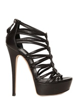 Casadei 150mm Nappa Leather Peplum Sandals