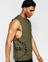 Asos Sleeveless T-shirt With Usa Star Print And Dropped Armhole