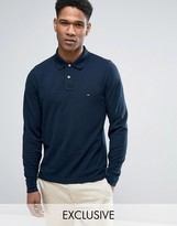 Tommy Hilfiger Long Sleeve Polo Pique Slim Fit Flag Logo In Navy Exclusive To Asos