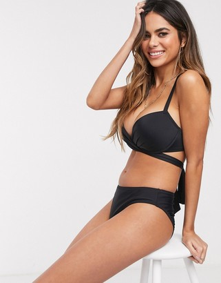 Pour Moi? Pour Moi Fuller Bust Space wrap around underwired bikini top in black