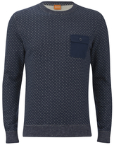 BOSS ORANGE Men's Wealer Patterned Sweater Navy