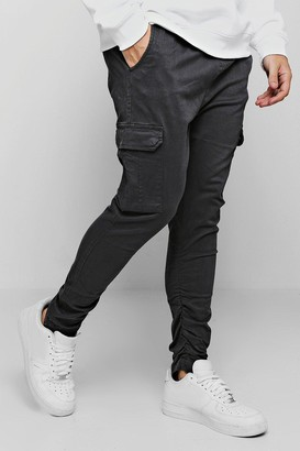 boohoo Mens Grey Tapered Fit Cargo Trouser, Grey