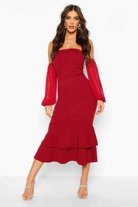 boohoo Off Shoulder Mesh Sleeve Fishtail Midi Dress