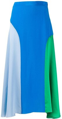 Chinti and Parker Colour-Blocked Silk Skirt