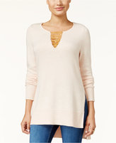 Thalia Sodi Chain-Trim Tunic Sweater, Only at Macy's