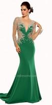 Atria Embellished Illusion Long Sleeve Prom Dress