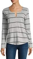 Joe's Jeans Women's Stripe Curved Hem T-Shirt