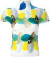 Issey Miyake feather-print knitted top - women - Polyester - One Size
