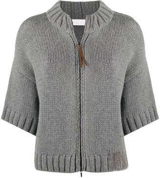 Fabiana Filippi Zipped Short-Sleeve Cardigan