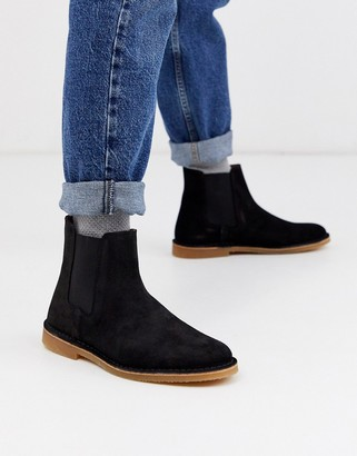 Selected suede chelsea boots in black