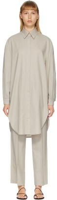 AMOMENTO Grey Wool Long Shirt