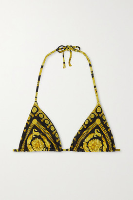 Versace Printed Triangle Halterneck Bikini Top - Gold