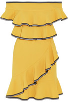 Rebecca Vallance Courtside Off-the-shoulder Ruffled Stretch-cloqué Mini Dress - Yellow