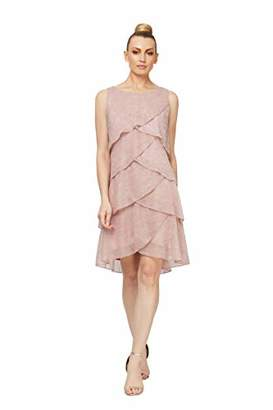 SL Fashions Women's Jewel-Strap Tiered Cocktail Party Dress
