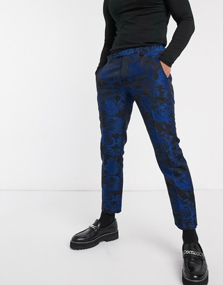 Twisted Tailor super skinny cropped suit trousers with floral jaquard in blue