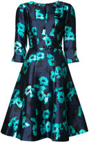 Oscar de la Renta split neck A-line dress - women - Silk/Cotton - 4