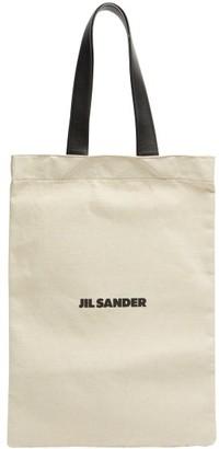 Jil Sander Logo-print Linen-blend Canvas Tote Bag - Light Beige