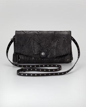 Frye Coleen Snake-Print Crossbody Clutch Bag, Black