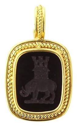 Elizabeth Locke Stone Ingtaglio Onyx 'Elephant & Castle' Pendant