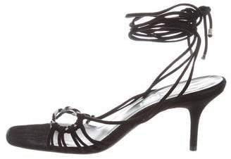 Chanel Suede Lace-Up Sandals