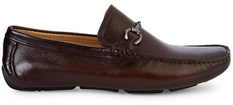Saks Fifth Avenue Horsebite Buckle Pebble Leather Loafers