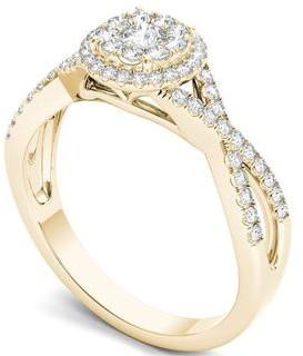 De Couer IGI Certified 10k Gold 1/2ct TDW Diamond Double Halo Engagement Ring