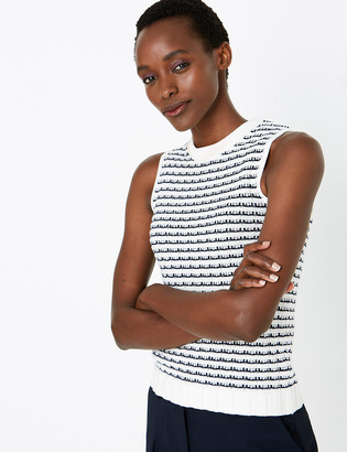 Marks and Spencer Pure Cotton Striped Sleeveless Knitted Top