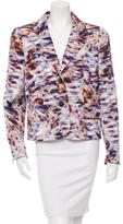 Escada Watercolor Print Notch Lapel Blazer