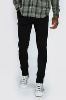 boohoo Mens Black Skinny Jeans With Abraisions, Black