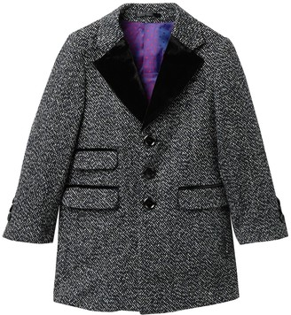 Isaac Mizrahi Tweed Trim Herringbone Coat (Big Boys)