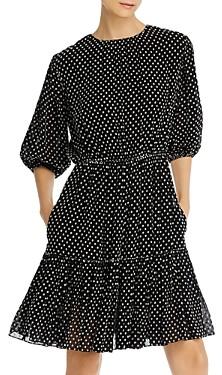 Derek Lam 10 Crosby Polka-Dot Embroidered Puff-Sleeve Dress
