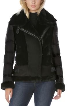 Tahari Faux-Shearling Moto Puffer Coat, Created for Macy's
