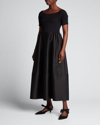 ADEAM Viola Mixed-Media Boat-Neck Dress