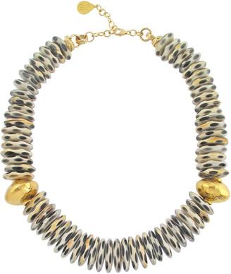 Devon Leigh Black & White Animal-Print Horn Necklace