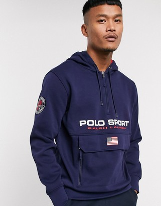 Polo Ralph Lauren Sport Capsule logo front pocket double knit pique hoodie in navy