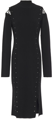 McQ Cutout Lace-up Stretch-knit Midi Dress