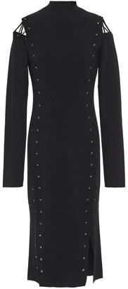 McQ Cutout Lace-up Stretch-knit Midi Dress