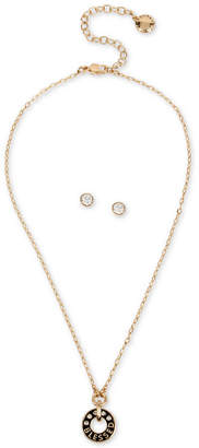 "BCBGeneration Gold-Tone Crystal ""Blessed"" Pendant Necklace & Stud Earrings Set, 15"" + 3"" extender"