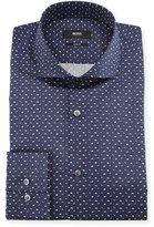BOSS Leaf-Print Slim-Fit Dress Shirt, Navy